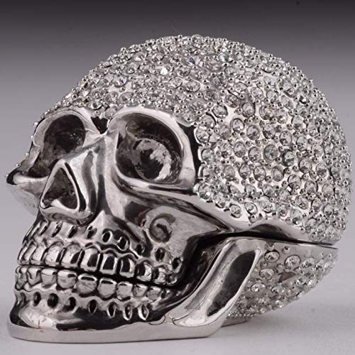 Keren Kopal Silver Skull Trinket Box Decorated with Swarovski Crystals Unique Handmade Gift Home Office Decor