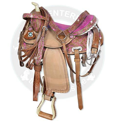 "Manaal Enterprises Premium Leder Western Barrel Racing Adult Horse Sattel Tack, Größe 14\""-18\"" Zoll Sitz verfügbar, frei passende Leder Headstall, Brustkragen, Zügel & Sattelkissen (15\"" Zoll Sitz)"