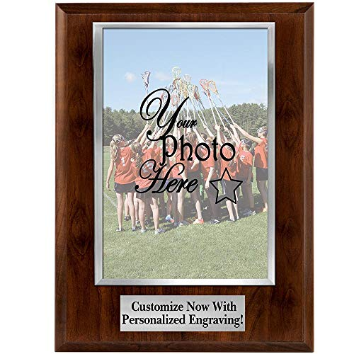 Crown Awards Custom Photo Plaques - 8x10 Vertical Photo Frame Plaque with Silver Photo Cover and Personalized Engraving Prime