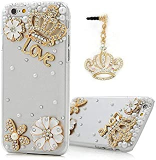 Mavis's Diary iPhone 6 Case,iPhone Case 3D Handmade Bling Crystal Golden Crown Lovely Flowers with Shiny Sparkle Rhinestone Diamond White Pearls Clear Hard Cover for iPhone 6 (4.7