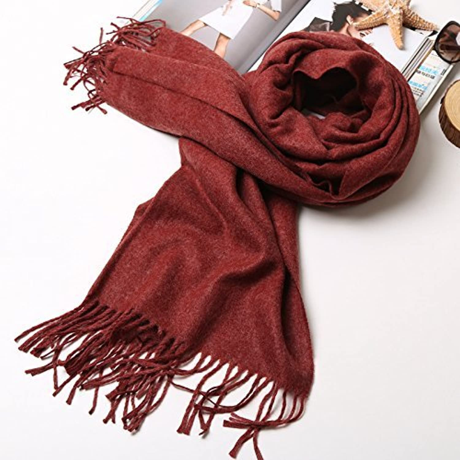 DIDIDD ExtraLong Stream of Couples Scarf Autumn and Winter Scarf Solid color Shawl Student Thick Warm