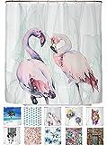 arteneur® - Loving Flamingos - Anti-Schimmel Duschvorhang 180x200 - Beschwerter Saum, Blickdicht, Wasserdicht, Waschbar, 12 Ringe und E-Book mit Reinigungs-Tipps