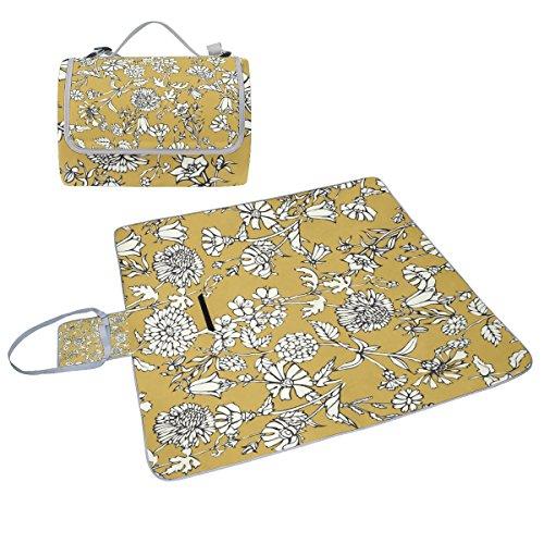 COOSUN gelbe Blumen Malen Box Picknick-Decke mit Matte Schimmel resistent und wasserdicht Camping-Matte für rving, Picknickdecke, Strand, Wandern, Reisen und Ausflüge