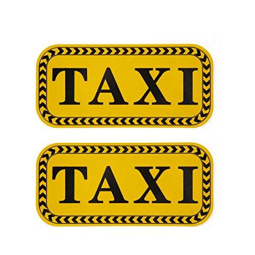 Sourcingmap 2 pcs Motif Taxi Auto-adhésif Autocollant réfléchissant Autocollant Noir Jaune pour Voiture