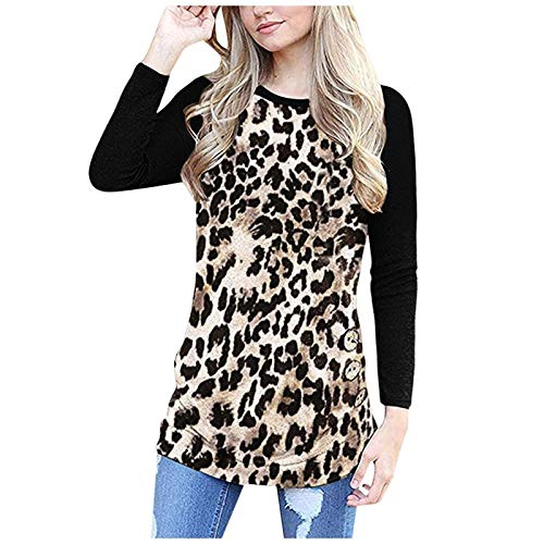 T-Shirt da Donna con Stampa a Blocchi di Colore con Scollo Tondo Moda personalità di Tendenza Cuciture Casual Confortevole Pullover Top XL