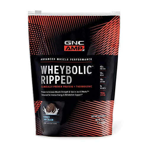 GNC AMP Wheybolic Ripped Whey Protein Powder - Cookies and Cream, 9 Servings, Contains 40g Protein and 15g BCAA Per Serving