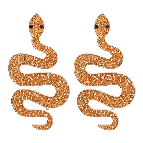 QERMULA Pendientes Largos de Serpiente Vintage para Mujer, joyería Europea con Cuentas de Resina, Pendientes de Mano, Naranja
