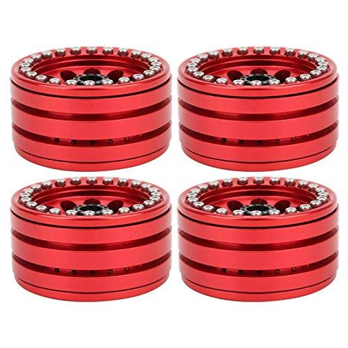 Qqmora Llanta de aleación de Aluminio Llanta de Rueda RC de Buen Rendimiento de 1,9 Pulgadas para Coche 1/10 RC Reemplazo Maravilloso(Reddish Black)
