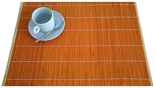 Mantel individual de bambú de 30 x 45 cm, color naranja