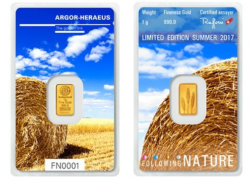 1g Argor Heraeus Goldbarren 1 Gramm 9999 mit Zertifikat Following Nature Summer
