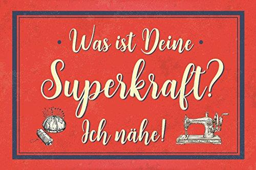 Metalen bord 30 x 20 cm Wat is je Superkraft? Ich Nähe (niet beschikbaar in het Nederlands). - Deko7