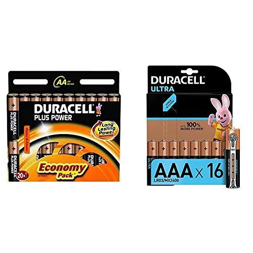 Duracell Plus AA Mignon Alkaline Batterien LR6, 20er Pack & Ultra AAA Micro Alkaline Batterien LR03, 16er Pack