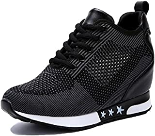 TQGOLD Women's Platform Sneakers Wedges High Top Lace Up...
