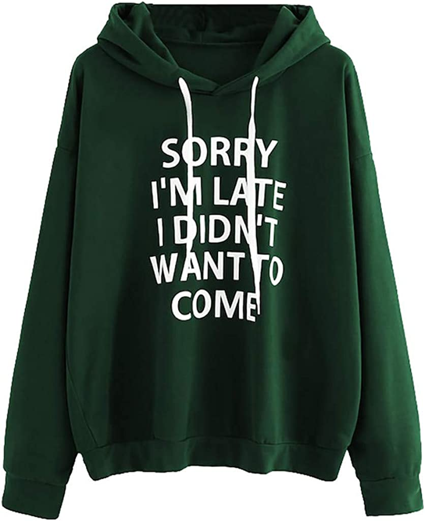 Shakumy Womens Teen Girls Long Sleeve Casual Cute Letter Print Hoodies Fit Pullover Sweatshirt Tops Sweaters Shirts Blouse