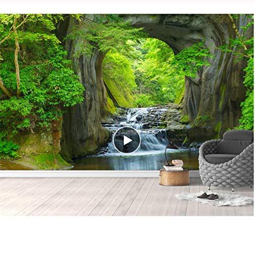 Süßwasserwaldfernsehhintergrund der kundenspezifischen Tapete ummauert grüne Tapete des ländlichen Artwohnzimmer-Schlafzimmerhintergrundes 3d-280X200CM