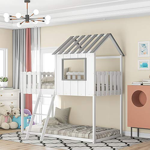 Wooden Bunk House Bed for Kids, Twin Over Twin Bunk Beds with Rustic Fence-Shaped Guardrail/Ladder/Window/Roof for Teens Boys & Girls Bedroom (White+Bunk House Bed)