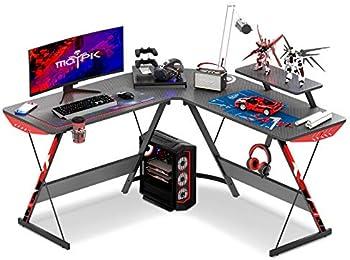 MOTPK 51 Inch L Shaped Real Carbon Fiber Coated Gaming Desk