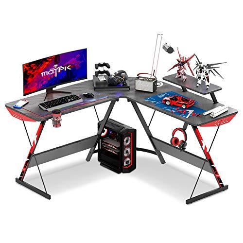 "MOTPK L Shaped Gaming Desk 51"" L Shaped Desk, Real Carbon Fiber Coated, Gaming Desk Table with Large Monitor Riser Stand for Home Office, Sturdy Writing Workstation, Gaming Desk with Shelf, Black"