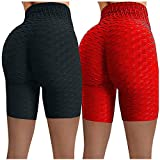 2 Stück Shorts Damen Sports Leggings Tie Dye/Einfarbig Tights Sport Kurze Hosen Anti Cellulite Hohe Taille Sportleggins Sexy Booty Push Up Laufshorts Fitness Yoga Hose