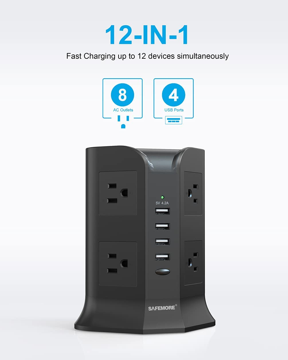 Power Strip Tower SAFEMORE Smart 8-Outlet 4-USB Surge Protector Desktop Power Plug Electrical Charging Station with 6.5ft Long Extension Cord with 4.2A USB for Home Office(Black) [Upgraded]