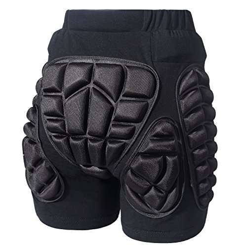 Soared 3D Protection Hip Butt EVA Paded Short Pants Protective Gear Guard Impact Pad Ski Ice Skating Snowboard Black XL