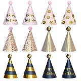 12 Pezzi Cappello Da Festa Di Compleanno,Cappellini Per Feste Compleanno Bambini Compleanno Cappelli A Cono Cappelli Per Feste Di Compleanno Cappelli A Cono Con Pon Pon Per Bambini E Bambine