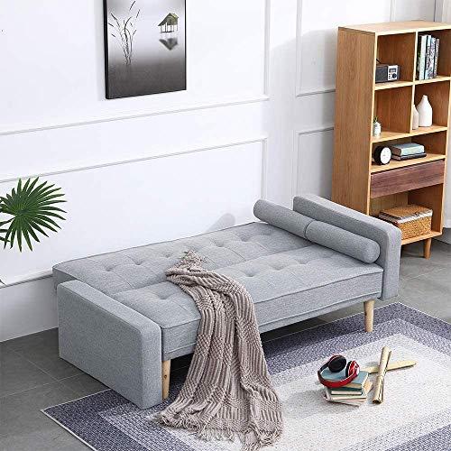 Grau Schlafsofa modernes unbedeutende mit Haltegriffen 2-Sitzer Wohnzimmer Leinen Zweisitzer 167 x 53 x 86 Limi,Grey