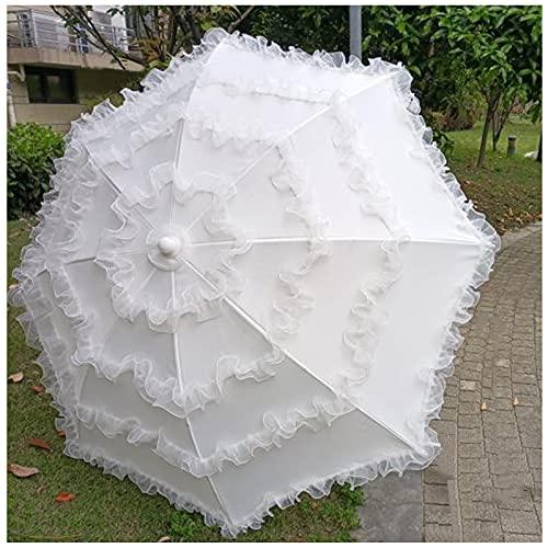 Y&J Sombrilla Jardin Exterior, (1.4m, 1.8m) Parasol Terraza Blanco, Parasol Playa Plegable, para Boda Decoración, Fiesta, Patio, Protección Solar