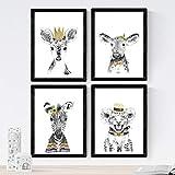Set de 4 láminas de Animales Infantiles Tonos Dorados ,en tamaño A4, Poster papel 250 gr alta calida...