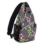 MOSISO Mini Sling Backpack,Small Hiking Daypack Pattern Travel Outdoor Sports Bag, Dark Gray Base...