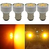 4-Pack 1157 BAY15D 1016 1034 7528 2057 2357 Extremely Bright Amber/Yellow LED Light 12V-DC, AMAZENAR 5630...