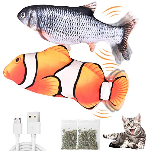 CovertSafe 2Pack Moving Cat Kicker Fish ToyMoving Fish Cat ToyWiggle Fish Catnip Toys Interactive Cat Toy Realistic Flopping Fish Fun Toy for Cat Exercise