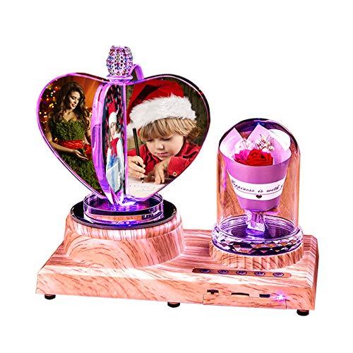 Luz De Noche Personalizada Para Niños Lámpara Bluetooth Personalizada Luz De Música Led Luz De 7 Colores Con Rosa Para Parejas Corazón De Cristal Regalo De Cumpleaños Del Día De La Madre