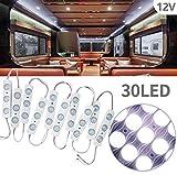 Biqing LED Auto Interni Kit,Luci Interne per Camper Striscia LED 12V 30 LEDs Auto Luci Lampadine Plafoniera Luci Lettura per Camper Camion Capannone Cabina Armadio Rimorchio(10 Modulo)