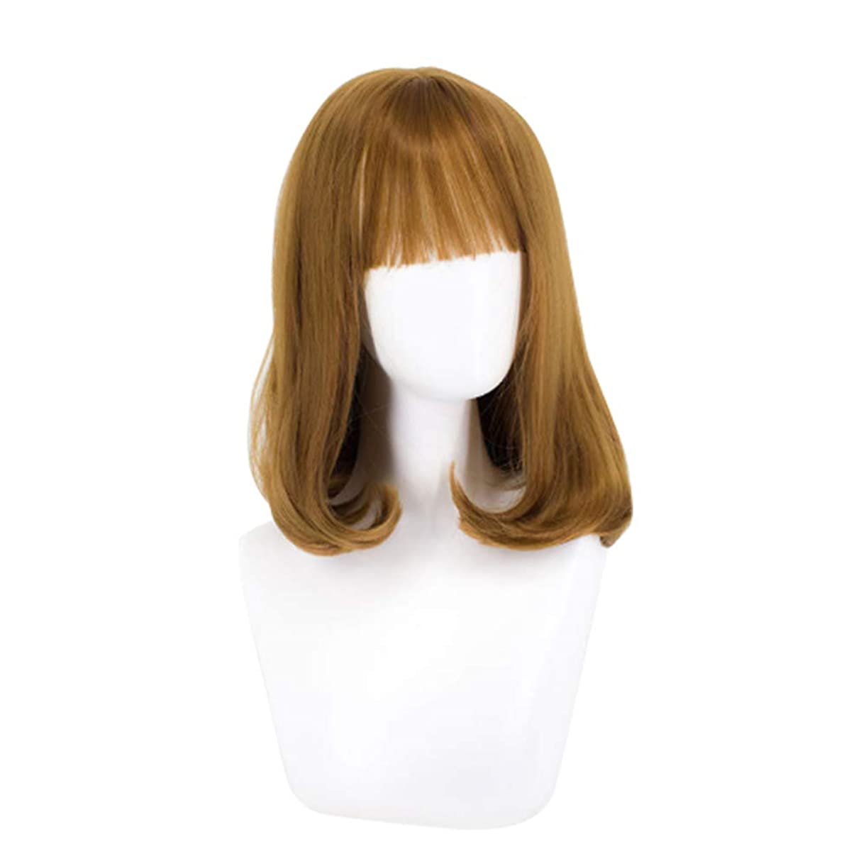 インタビューポータルバースウィッグミディアムロングヘアー女性のためのふわふわウェーブのかかった髪かつら自然に見える耐熱性のある合成ファッションウィッグミディアムロングヘアーカーリーかつら,Yellow