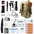 Gifts for Men Dad Husband Emergency Survival Gear and Medical First Aid Kit - IFAK Outdoor Adventure Camping Hiking and More (Light Green Camo)