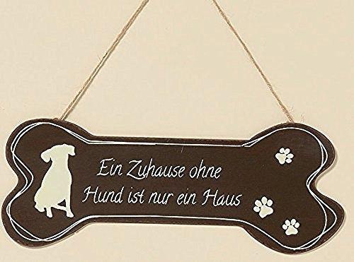 Boltze Metall Schild Knochen Hund 30cm Eisen lackiert (EIN Zuhause ohne Hund)