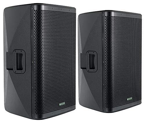 """Pronomic C-215 MA Stereo Set - Zwei aktive 2-Wege Boxen - Leistung: 1000 Watt (RMS) - 15\"""" Woofer + 1,75\"""" Hochtöner - Bluetooth-Empfänger und DSP-Presets - Kunststoff-Gehäuse mit Monitorschräge"""