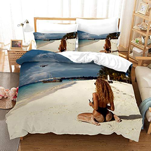 GVJKCZ Fundas nordicas Chica Sexy Bikini Azul Playa Blanca 3D Juego de Cama 260x220cm Bedding Juego de Ropa de Cama para Niños - 100% Microfibra (1 Funda Nórdica + 2 Funda de Almohada)