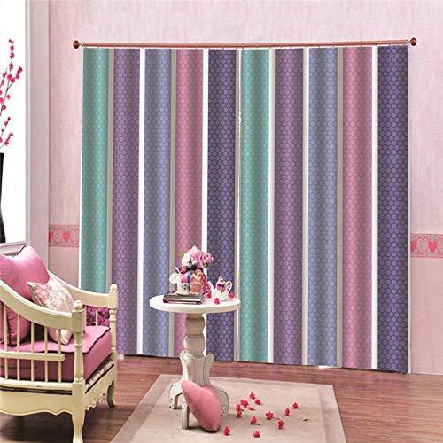 JcurtainC Vorhänge Blickdicht Undurchsichtige Wärmeisolierende Farbige Linien Gardinen Für Schlafzimmer Wohnzimmer Kinderzimmer Dekorative Gardine Fensterdekoration (150x166cm