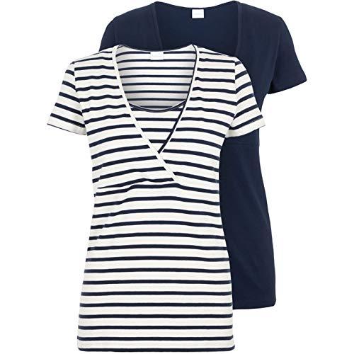 MAMALICIOUS Damen Mllea Org Tess Mix Top Nf 2pa Noos A. T Shirt, Navy Blazer, M EU