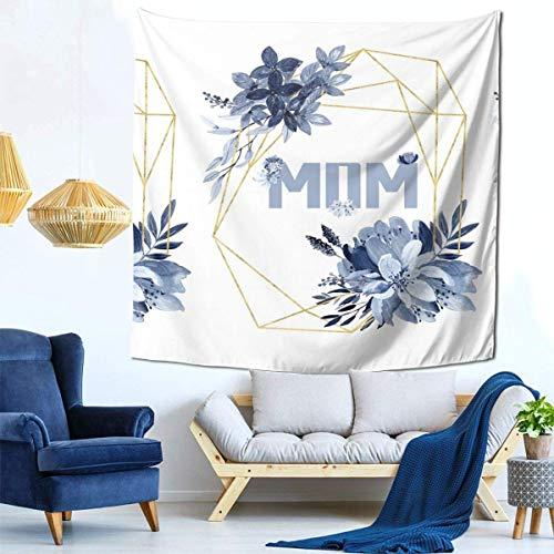 N / O Flores de tinta azul Tapiz del día de la madre Tapiz de dormitorio Sala de estar Dormitorio, adecuado para cualquier temporada Manta de fondo, Tipo para colgar en la pared Espacio decorativo Tap