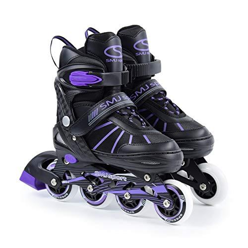 SMJ sport Geena Damen Mädchen Inliner VERSTELLBAR Inlineskates mit LED Rollen 82A ABEC7 Fitness Skates (38-41)