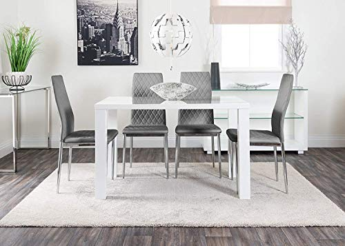 White High Gloss Modern Stylish Dining Table And 4 Milan Chairs Set (Dining Table + 4 Elephant Grey) Counter Office