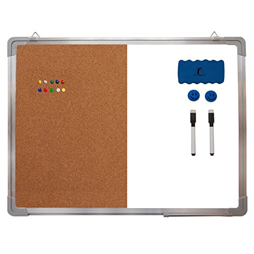 """Combination Whiteboard Bulletin Board Set - 24 x 18"""" Dry Erase/Cork Board with 1 Magnetic Dry Eraser, 2 Markers, 2 Magnets and 10 Thumb Tacks - Small Combo Tack White Board for Home Office Desk"""