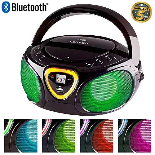 Lauson CP452 Radio Reproductor de CD con Luces Led Multicolores en los Altavoces. Lector USB para Reproducir Música MP3, Boombox Radio Digital FM y Conexión Bluetooth (Negro)