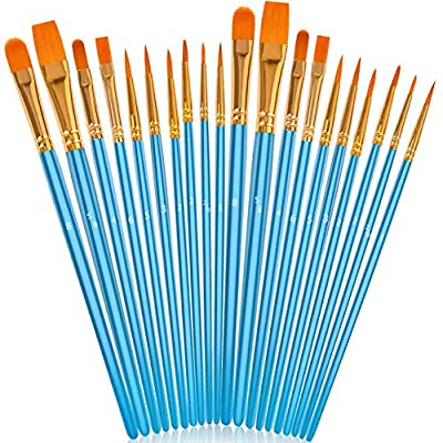 Soucolor Acrylic Paint Brushes Set, 20Pcs Artist Paintbrushes Paint Brushes for Acrylic Oil Watercolor, Canvas Body Face Rock Painting Kit, Fine Detail Miniature, Adult/Kids Arts Crafts Supplies