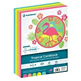 """Printworks Tropical Cardstock, 5 Assorted Colors, Perfect for School and Craft Projects, 200 Sheets, 8.5"""" x 11"""" (00663)"""