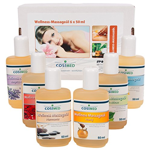 Probierset Wellness-Massageöl, Massage Öl, Physiotherapie 6 Flaschen à 50 ml