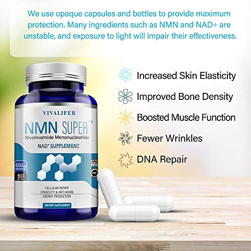 51SC7LCW42L - NMN Supplement, 500MG Nicotinamide Mononucleotide Capsules for Supports Anti-Aging, Longevity and Energy, Naturally Boost NAD+ Levels (NMN 60PCS)